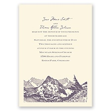 Watercolor Mountain - Ecru - Invitation