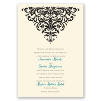 Dramatic Damask - Ecru - Invitation