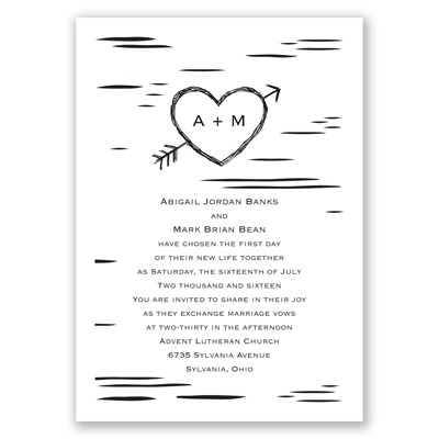 Birch Bark Heart - Invitation