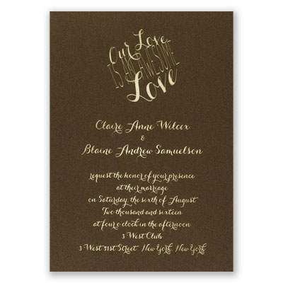 An Awesome Love - Brown Shimmer - Foil Invitation