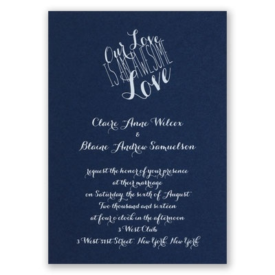 An Awesome Love - Navy - Foil Invitation