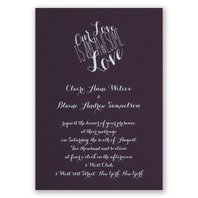 An Awesome Love - Eggplant - Foil Invitation