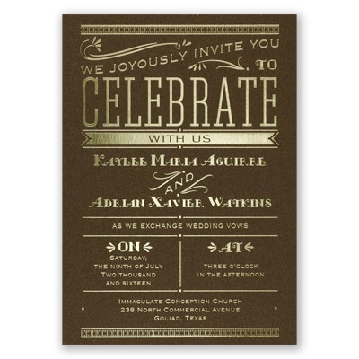 Big News - Brown Shimmer - Foil Invitation