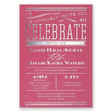 Big News - Fuchsia Shimmer - Foil Invitation