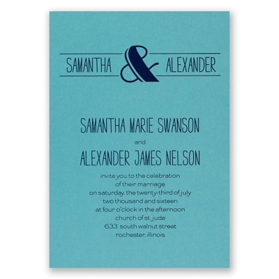 Modern Flair - Aqua Shimmer - Foil Invitation