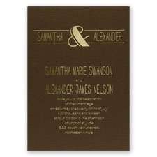 Modern Flair - Brown Shimmer - Foil Invitation