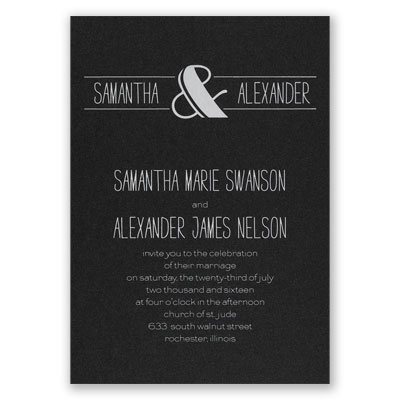 Modern Flair - Black Shimmer - Foil Invitation
