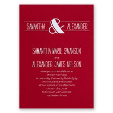 Modern Flair - Red - Foil Invitation