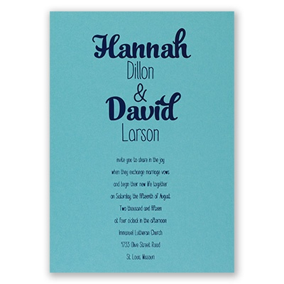 Kinda Quirky - Aqua Shimmer - Foil Invitation