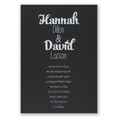 Kinda Quirky - Black Shimmer - Foil Invitation
