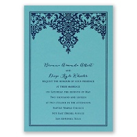 Demure Damask - Aqua Shimmer - Foil Invitation