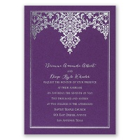 Demure Damask - Purple Shimmer - Foil Invitation