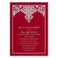 Demure Damask - Red - Foil Invitation