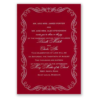 Calligraphy Border - Red - Foil Invitation