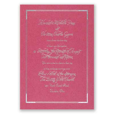 Looking Sharp - Fuchsia Shimmer - Foil Invitation