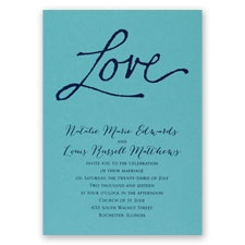 Pure Love - Aqua Shimmer - Foil Invitation