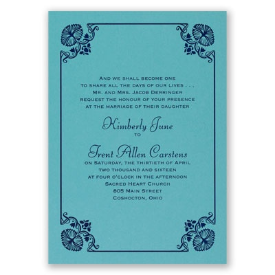 Art Deco Delight - Aqua Shimmer - Foil Invitation
