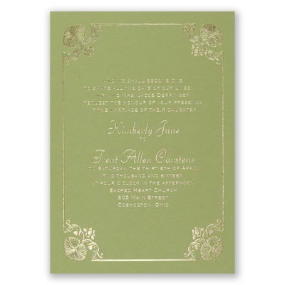 Art Deco Delight - Olive - Foil Invitation