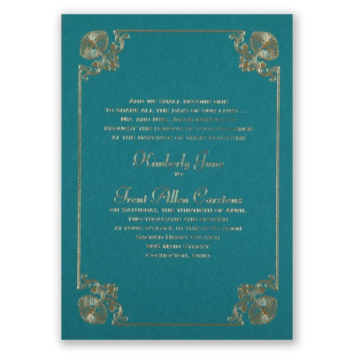 Art Deco Delight - Teal - Foil Invitation