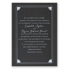 Creative Corners - Black Shimmer - Foil Invitation
