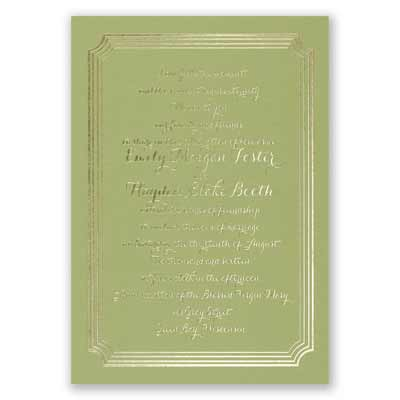 Impressive Borders - Olive - Foil Invitation