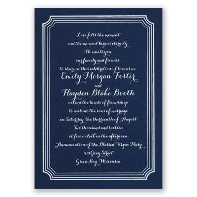 Impressive Borders - Navy - Foil Invitation