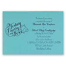 My Love - Aqua Shimmer - Foil Invitation