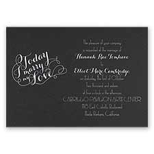 My Love - Black Shimmer - Foil Invitation