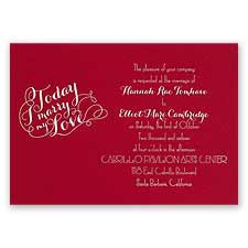 My Love - Red - Foil Invitation