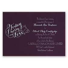 My Love - Eggplant - Foil Invitation