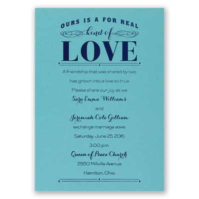 Real Love - Aqua Shimmer - Foil Invitation
