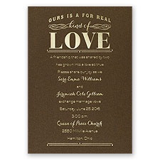 Real Love - Brown Shimmer - Foil Invitation