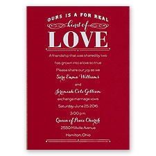 Real Love - Red - Foil Invitation