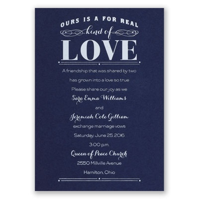 Real Love - Navy - Foil Invitation