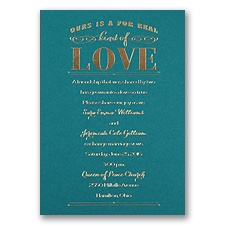 Real Love - Teal - Foil Invitation