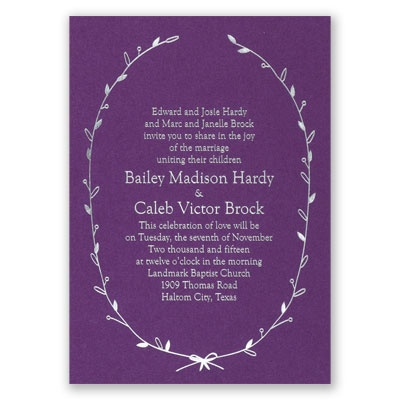 Naturally Beautiful - Purple Shimmer - Foil Invitation