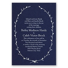 Naturally Beautiful - Navy - Foil Invitation