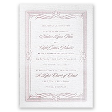 Diamonds and Swirls - White - Featherpress Invitation