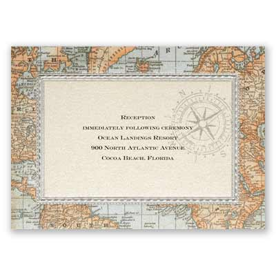 Antique World Map - Reception Card