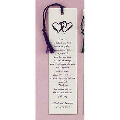 Ecru Coupled Hearts Bookmark