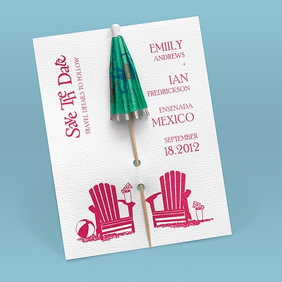 Kickin' Back Umbrella - Save the Date Card