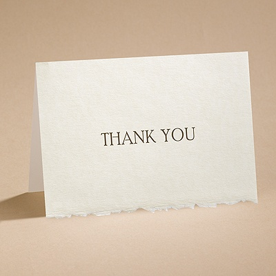 Ecru Deckle Edge - Thank You Card with Verse and Envelope