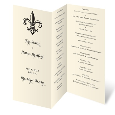 Trifold Wedding Programs on Wedding Stationery    Wedding Programs    Ecru Wedding Programs