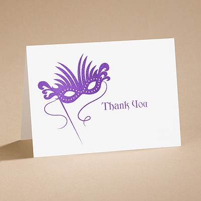 Masquerade - Thank You Card with Verse and Envelope