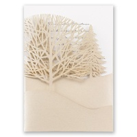 Trees of Gold - White - Laser Cut Invitation