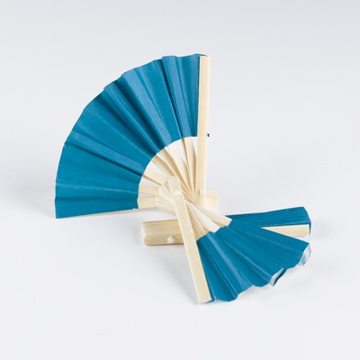 Mini Bamboo Favor Fan - Blue