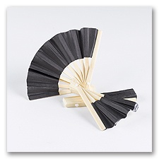 Mini Bamboo Favor Fan - Black
