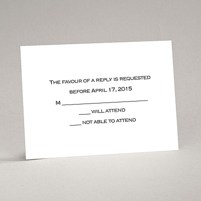 Bright White - Response Card and Envelope - Thermography