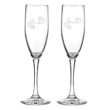 Heart Flourish Toasting Flutes