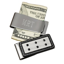 Silver and Leather Money Clip